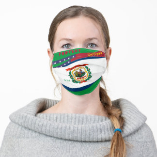 West Virginia Flag w/ Stars Stripes Kelly Green Adult Cloth Face Mask
