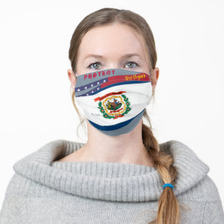 West Virginia Flag w/ Stars Stripes on Cool Grey Adult Cloth Face Mask