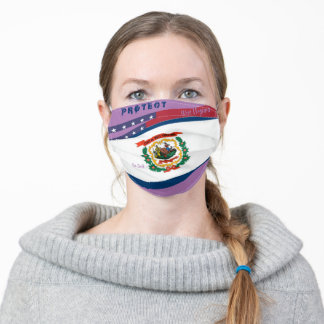 West Virginia Flag w/ Stars Stripes on Lavender Adult Cloth Face Mask