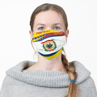 West Virginia Flag w/ Stars Stripes on Yellow Gold Adult Cloth Face Mask
