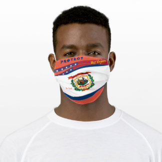 West Virginia Flag w/ Stars Stripes  Orange Red Adult Cloth Face Mask