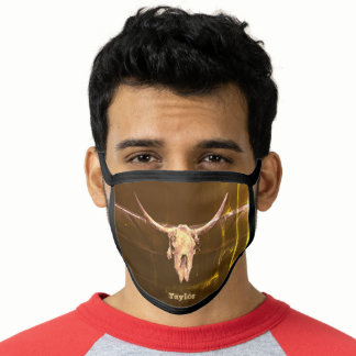 Western Bull Skull Brown Country Vintage Rustic Face Mask