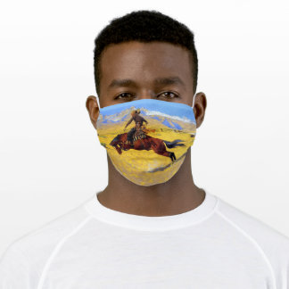 Western Cowboy Riding A Bronco Rustic Adult Cloth Face Mask