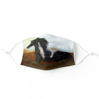 Western painting art face mask gypsy horse