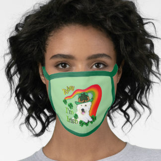 Westie St. Patricks Day Face Mask