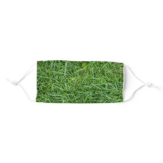 wet green grass adult cloth face mask