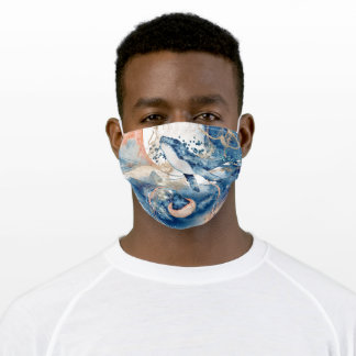 Whale jelly fish under the sea blue orange wedding adult cloth face mask