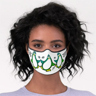 When in Danger or in Doubt  Funny Penguin Green Premium Face Mask