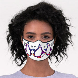 When in Danger or in Doubt Funny Penguin Purple Premium Face Mask