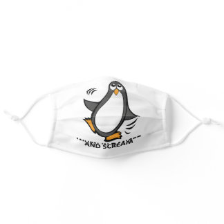 When in Danger or in Doubt  Funny Penguin | WHITE Adult Cloth Face Mask