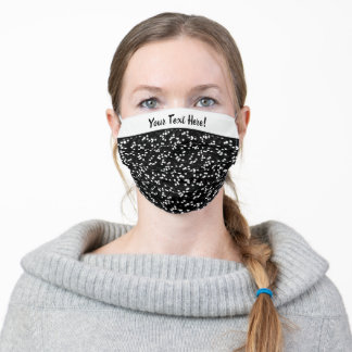 Whimsical Black and White Polka Dots Pattern Adult Cloth Face Mask