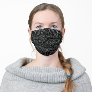 Whimsical Black and White Wavy Striped Scribbles Adult Cloth Face Mask