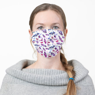 Whimsical Butterfly Print Pink Purple Blue Adult Cloth Face Mask