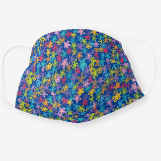 Whimsical Colorful Crayon Floral Doodle Pattern Cloth Face Mask