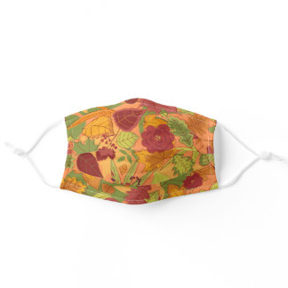 Whimsical Colorful Fall Foliage Leaves Adult Cloth Face Mask