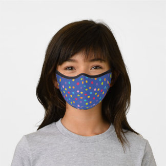 Whimsical Crayon Polka Dots Blue Pattern Premium Face Mask