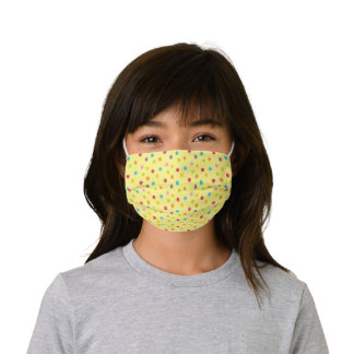 Whimsical Crayon Polka Dots Yellow Pattern Kids' Cloth Face Mask