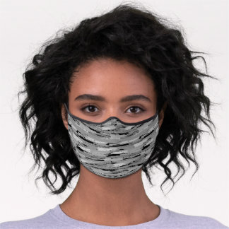 Whimsical Crayon Stripes Pattern Black and Gray Premium Face Mask