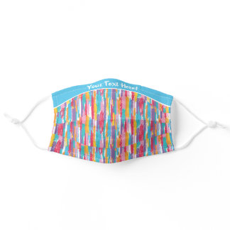 Whimsical Crayon Stripes Pattern Blue Adult Cloth Face Mask