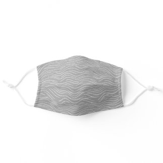 Whimsical Gray and White Wavy Striped Scribbles Adult Cloth Face Mask