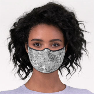Whimsical Gray Tropical Floral Leaf Print Premium Face Mask