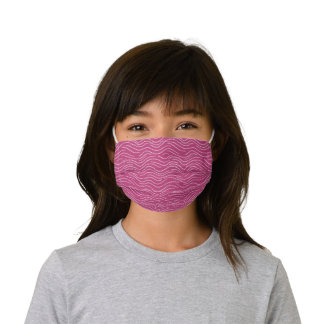 Whimsical Hot Pink and White Wavy Stripe Scribbles Kids' Cloth Face Mask