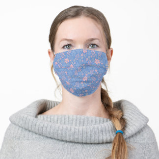 Whimsical Periwinkle Blue and Pink Floral Print Adult Cloth Face Mask