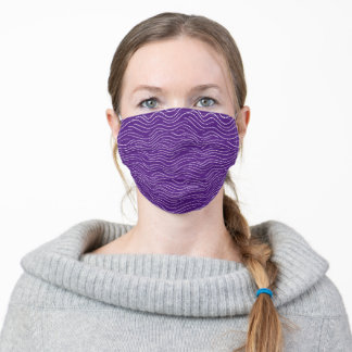 Whimsical Purple and White Wavy Striped Scribbles Adult Cloth Face Mask