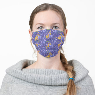 Whimsical Purple and Yellow Giraffes Gift Ideas Adult Cloth Face Mask
