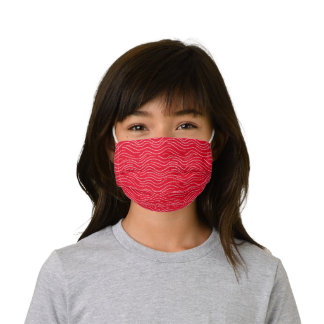 Whimsical Red and White Wavy Striped Scribbles Kids' Cloth Face Mask
