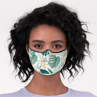 Whimsical Tropical Flowers Print Premium Face Mask
