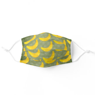Whimsical Yellow Tropical Banana Swirl Pattern Adult Cloth Face Mask
