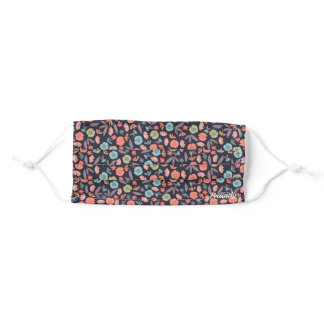Whimsy Floral with Name Adult Cloth Face Mask