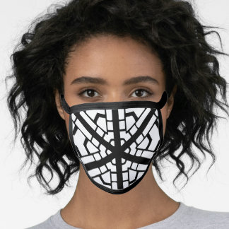 WHITE AND BLACK ABSTRACT FACE MASK