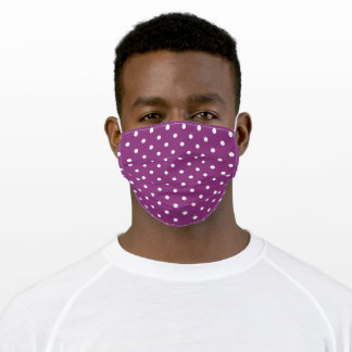 White and Purple Plum Retro Polka Dot Adult Cloth Face Mask