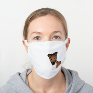 White And Tan Smooth Fox Terrier Cute Dog Head White Cotton Face Mask