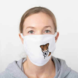White And Tan Wire Fox Terrier Cute Cartoon Dog White Cotton Face Mask