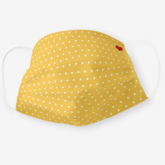 White and Yellow Polka Dot with Red Heart Pattern Cloth Face Mask