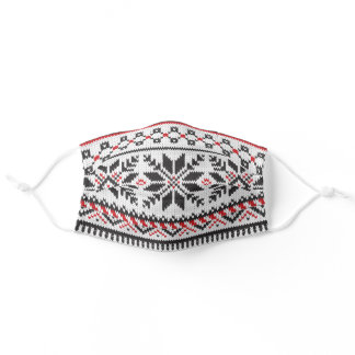 White, Black & Red Fair Isle Faux Knit Sweater Adult Cloth Face Mask