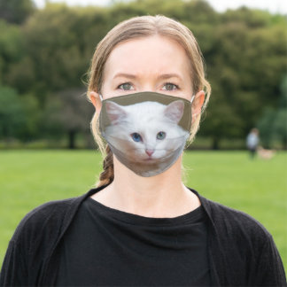 White Cat Adult Cloth Face Mask