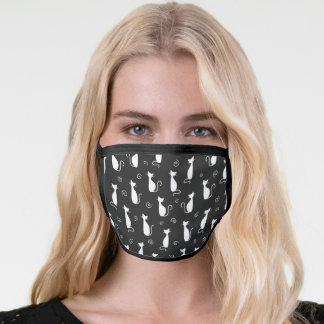 White Cat Silhouette Pattern on Black Face Mask