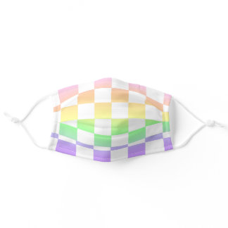White Checkered Pastel Rainbow Face Mask