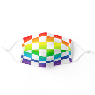White Checkered Rainbow Face Mask