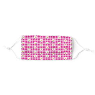 white daisies on pink and white gingham adult cloth face mask