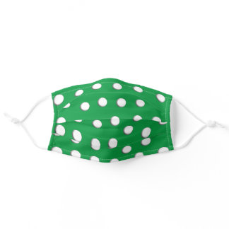 White Dimensional Polka Dots on Kelly Green Adult Cloth Face Mask
