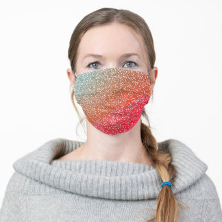 White dots, trendy modern red orange khaki ombre adult cloth face mask