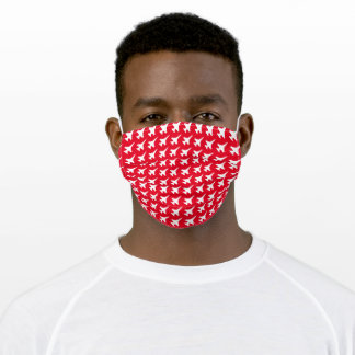 White F-16 Jet Pattern on Red Adult Cloth Face Mask