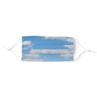 White Fluffy Clouds on Blue Sky Adult Cloth Face Mask
