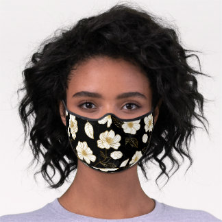 White Gold Flowers on Black Premium Face Mask