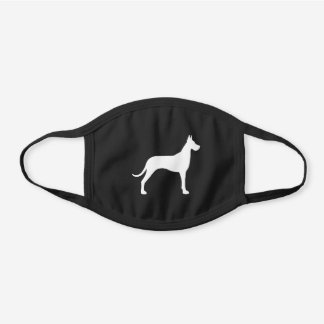 White Great Dane Dog Breed Silhouette Black Cotton Face Mask